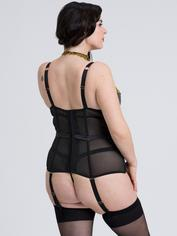Fifty Shades of Grey Captivate Black and Gold Basque Set, Black, hi-res