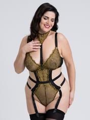 Fifty Shades of Grey Captivate Plus Size Black and Gold Teddy, Black, hi-res