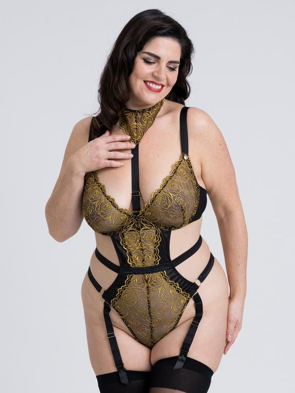 Fifty Shades of Grey Captivate Plus Size Black and Gold Body, Black, hi-res