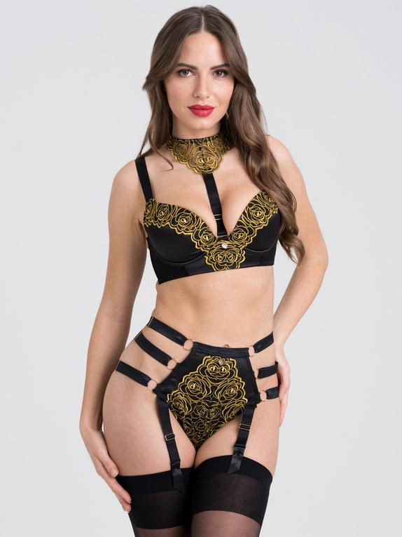 Fifty Shades of Grey Captivate Black and Gold Bra Set, Black, hi-res
