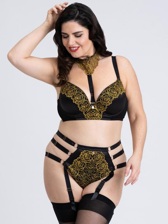 Fifty Shades of Grey Captivate Plus Size Black and Gold Bra Set, Black, hi-res