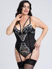 Fifty Shades of Grey Captivate Black and Silver Basque Set , Black, hi-res