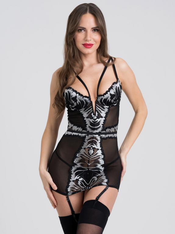 Fifty Shades of Grey Captivate Black and Silver Chemise, Black, hi-res