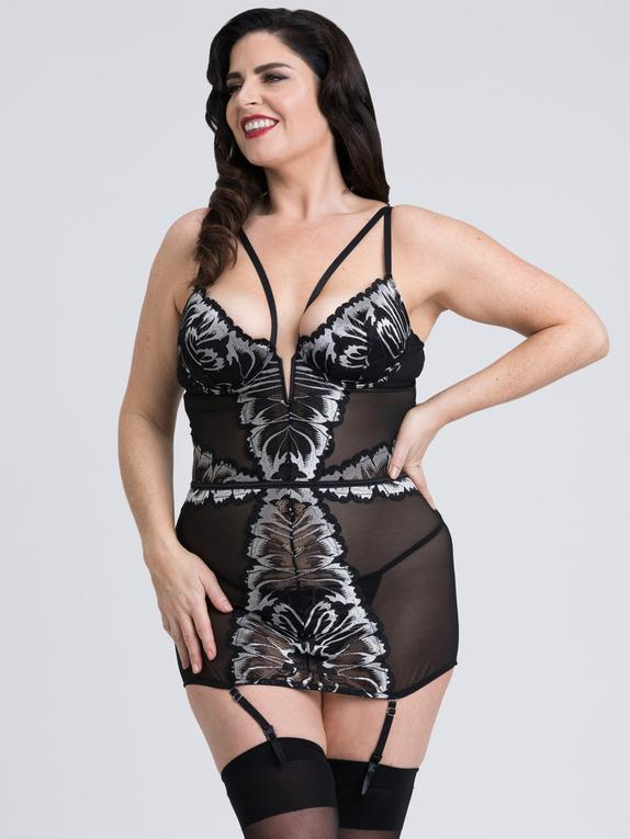 Fifty Shades of Grey Captivate Plus Size Black and Silver Chemise, Black, hi-res