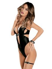 Escante Stretchy Wet Look Body Set, Black, hi-res
