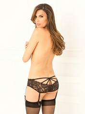 Rene Rofe Black Crotchless Cage-Back Suspender Knickers, Black, hi-res