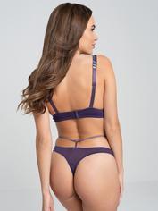 Lovehoney Paradise Lust Purple Strappy Bra Set, Purple, hi-res