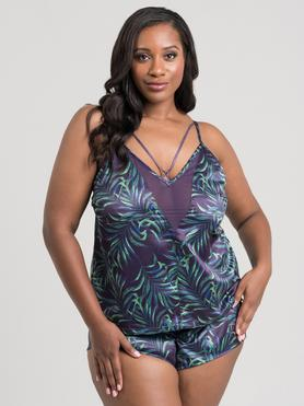 Lovehoney Plus Size Paradise Lust Purple Cami Set