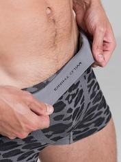 LHM Wild Thing Grey Leopard Print Seamless Boxer Shorts, Grey, hi-res