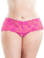 Oh La La Cheri Lace Crotchless Knickers, Pink, hi-res