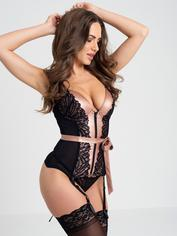 Lovehoney Pearl Faux Leather and Lace Basque Set, Black, hi-res