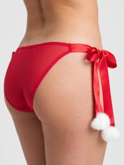 Lovehoney Christmas Pom-Pom Red Sheer Knickers, Red, hi-res