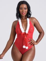 Body transparent pompon Noël rouge, Lovehoney, Rouge, hi-res
