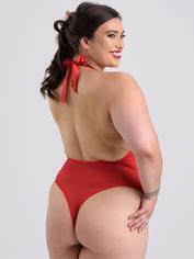 Lovehoney Plus Size Christmas Pom-Pom Red Sheer Body, Red, hi-res