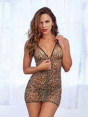 Dreamgirl Leopard Print Front Zipper Halterneck Chemise Set, Brown, hi-res