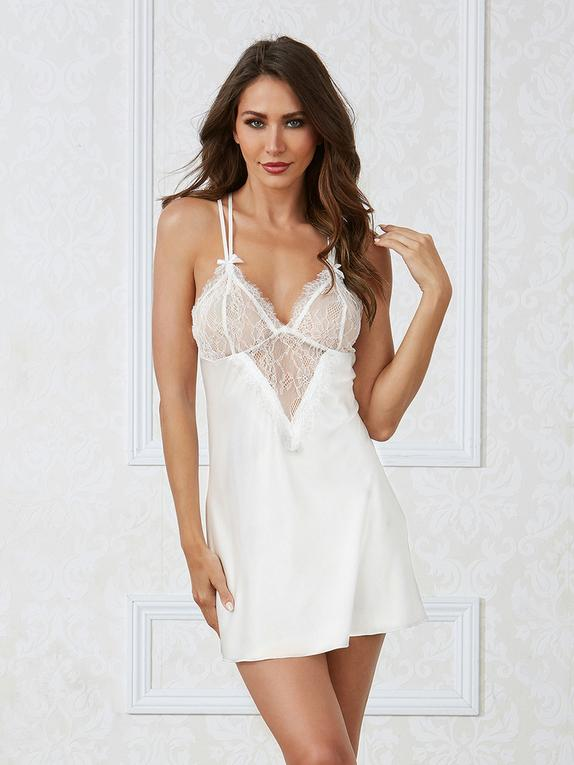 Dreamgirl White Satin and Lace Chemise , White, hi-res
