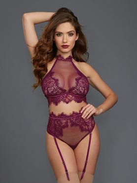 Dreamgirl Mulberry Lace and Fishnet Bra Set
