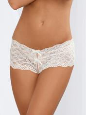 Dreamgirl White Heart Cut-Out Lace Crotchless Shorts, White, hi-res