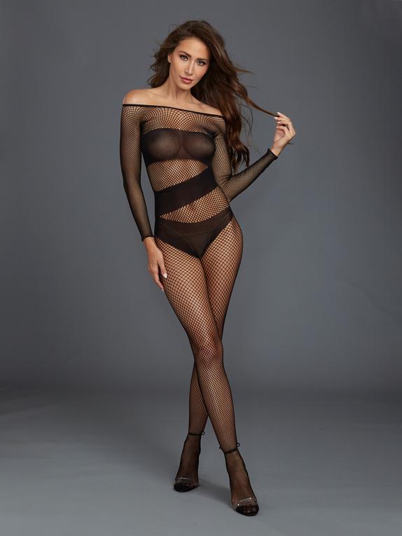 Dreamgirl Black Long Sleeve Fishnet Crotchless Bodystocking, Black, hi-res