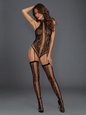 Dreamgirl Black Fishnet and Lace Halterneck Bodystocking