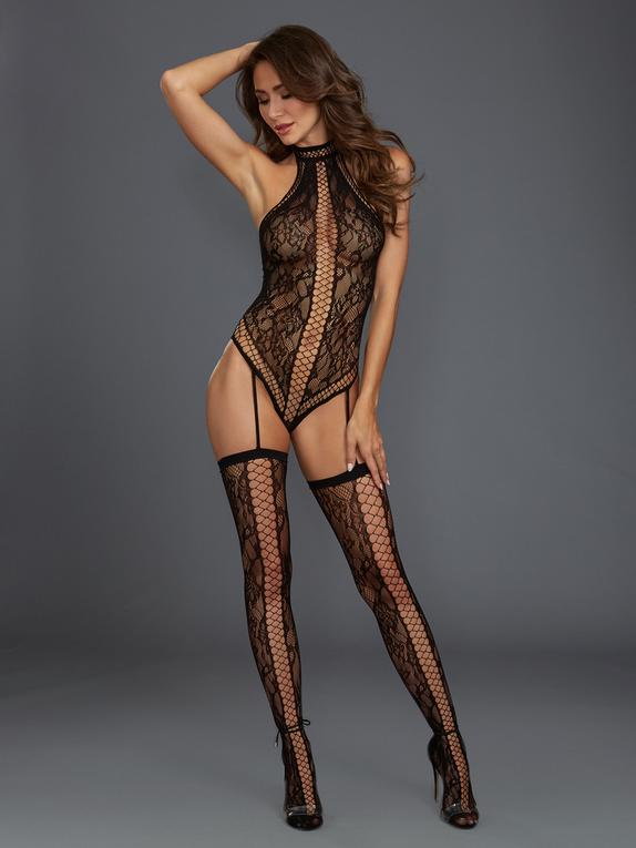 Dreamgirl Plus Size Black Fishnet and Lace Halterneck Bodystocking, Black, hi-res
