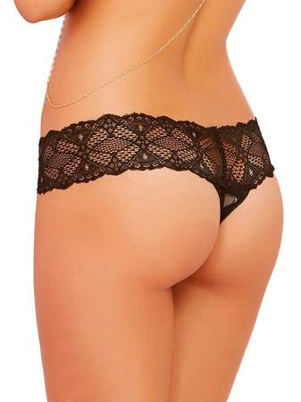 Seven 'til Midnight Black Crochet Lace Crotchless Thong