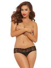 Seven 'til Midnight Black Crochet Lace Crotchless Thong, Black, hi-res
