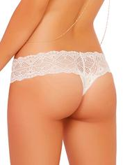 Seven 'til Midnight White Crochet Lace Crotchless Thong, White, hi-res