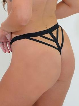 JoJoe Black Recycled Microfibre Strappy Thong