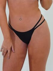 JoJoe Black Recycled Microfibre Keyhole Back Brazilian Knickers, Black, hi-res