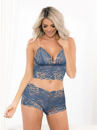 Escante Blue Floral Lace Cami Set