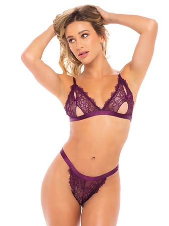 Oh La La Cheri Purple Peek-A-Boo Crotchless Lace Bra Set