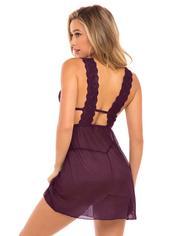 Oh La La Cheri Black Lace and Mesh Babydoll Set , Purple, hi-res