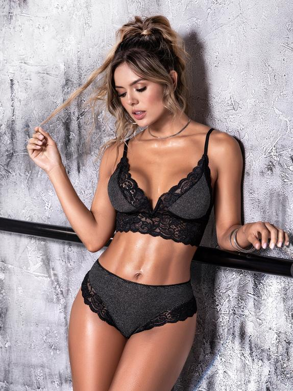 Mapale Grey Shimmering Lace-Trimmed Longline Bra Set , Grey, hi-res