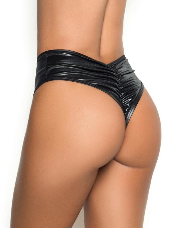 Mapale Wet Look High-Waisted Ruched Wet Look Thong, Black, hi-res