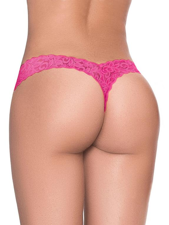 Mapale Hot Pink Lace High Leg Thong, Pink, hi-res