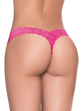 Mapale Hot Pink Lace High Leg Thong