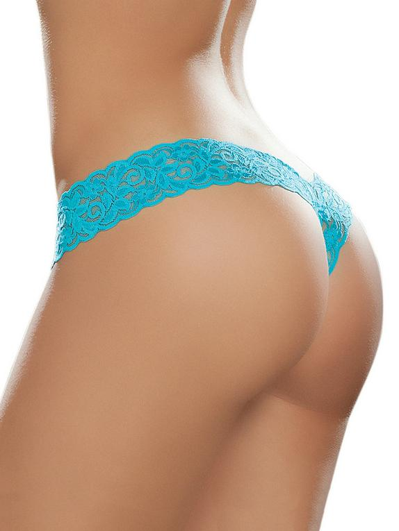 Mapale Hot Pink Lace High Leg Thong, Blue, hi-res