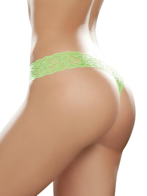 Mapale Hot Pink Lace High Leg Thong, Green, hi-res