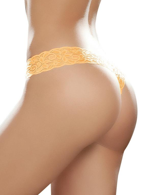 Mapale Hot Pink Lace High Leg Thong, Orange, hi-res