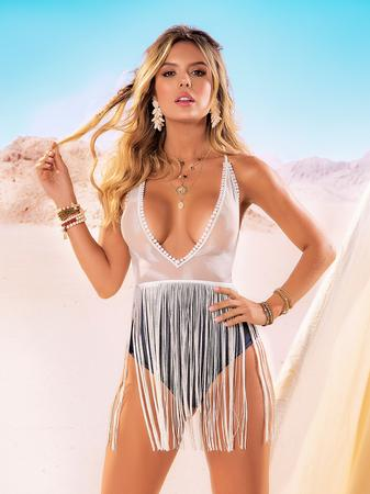 Mapale White Sheer Teddy with Fringing