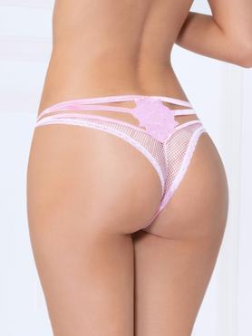 Seven 'til Midnight Pink Fishnet Strappy Thong