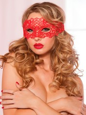 Seven 'til Midnight Red Lace Eye Mask, Red, hi-res
