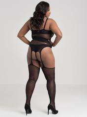 Lovehoney Plus Size Asymmetric Fishnet Suspender Bodystocking, Black, hi-res