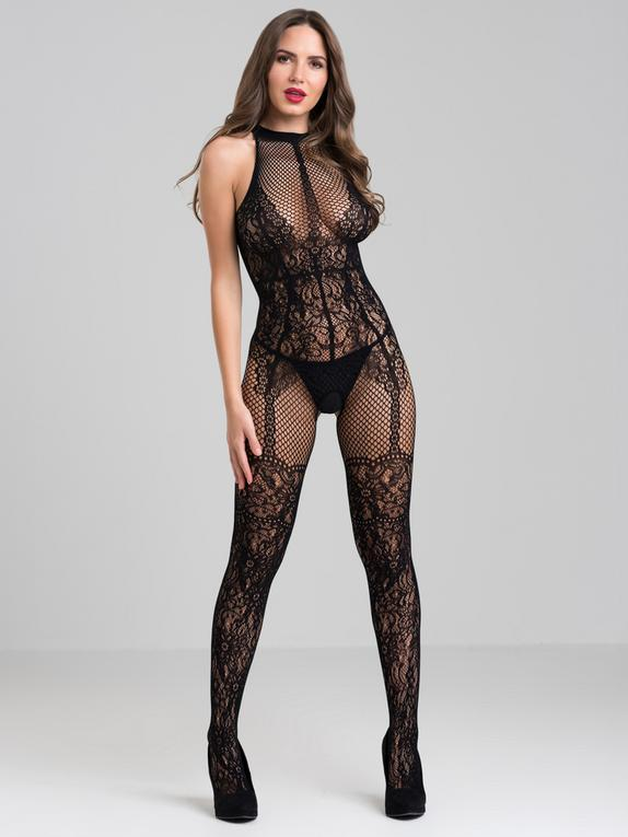 Lovehoney Lace and Fishnet Crotchless Basque Bodystocking, Black, hi-res