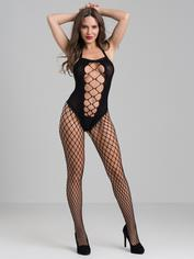 Lovehoney Fishnet Criss-Cross Cut-Out Crotchless Bodystocking, Black, hi-res