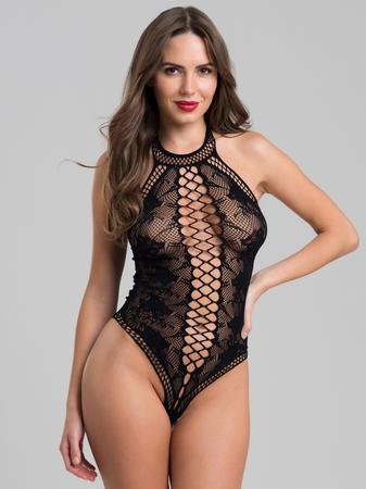 Lovehoney Black Lace and Fishnet Thong Teddy