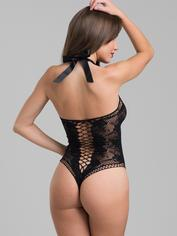 Lovehoney Black Lace and Fishnet Thong Teddy, Black, hi-res