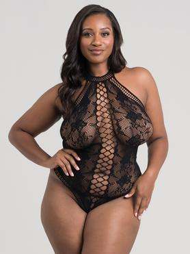 Lovehoney Plus Size Black Lace and Fishnet Thong Body