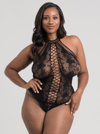 Lovehoney Plus Size Black Lace and Fishnet Thong Teddy